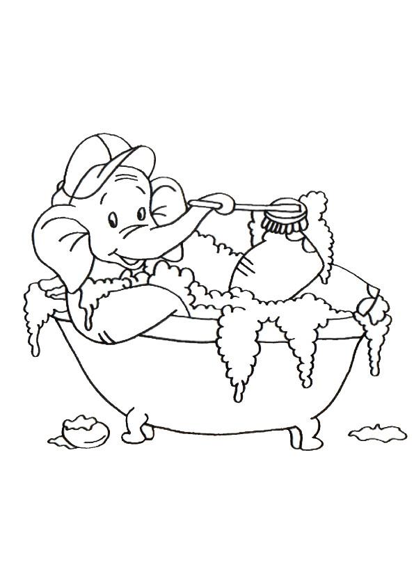 Coloriage et dessins gratuits L'éléphant dans Le Baignoire à imprimer