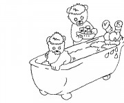 Coloriage L'ours dans Le Baignoire