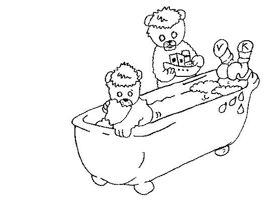 Coloriage et dessins gratuits L'ours dans Le Baignoire à imprimer