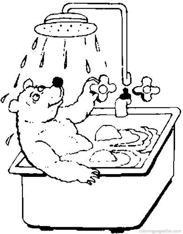 Coloriage et dessins gratuits L'ours fait Un douche dans La Salle de Bain à imprimer