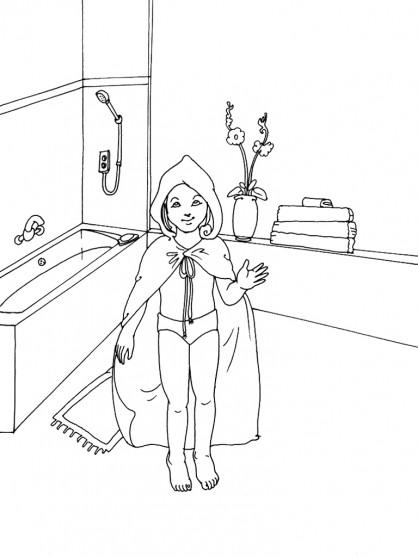 Coloriage et dessins gratuits La Fille porte Le Peignoir à imprimer