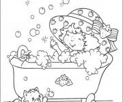 Coloriage La Petite princesse prend une douche