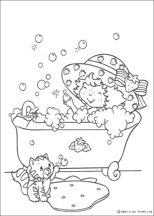 Coloriage et dessins gratuits La Petite princesse prend une douche à imprimer
