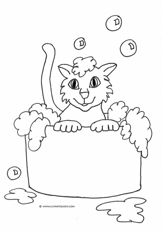 Coloriage et dessins gratuits Le Chat se baigne à imprimer