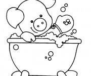 Coloriage Le Cochon se baigne pour enfant