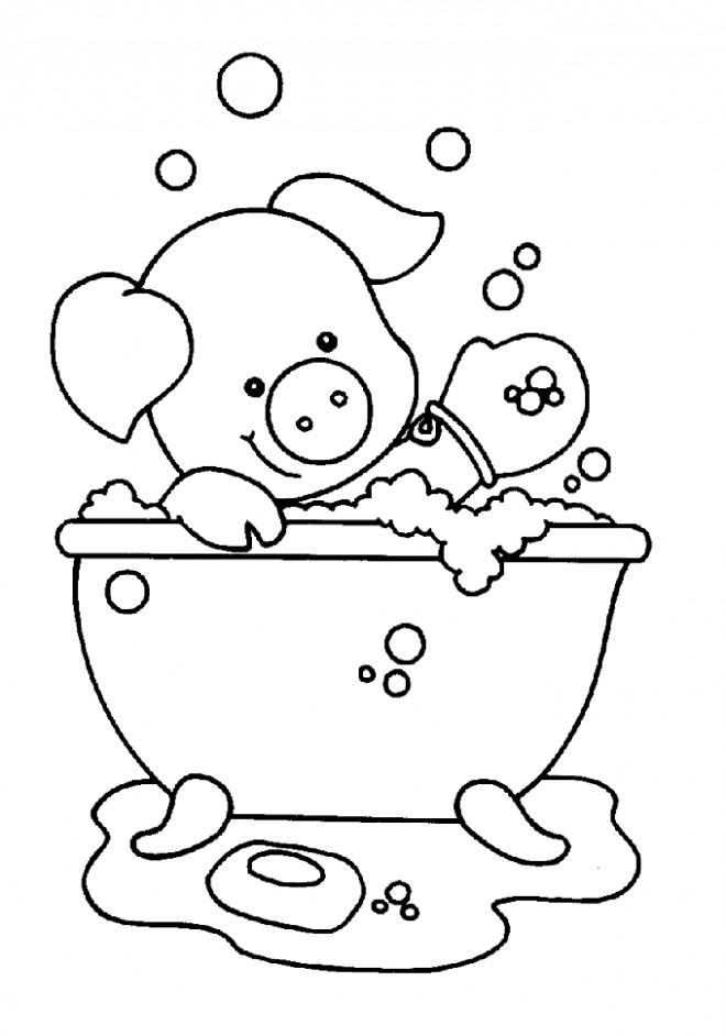 Coloriage et dessins gratuits Le Cochon se baigne pour enfant à imprimer