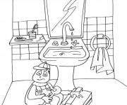 Coloriage et dessins gratuit Le Plombier Salle de Bain à imprimer