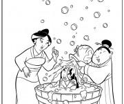 Coloriage Mulan se Baigne