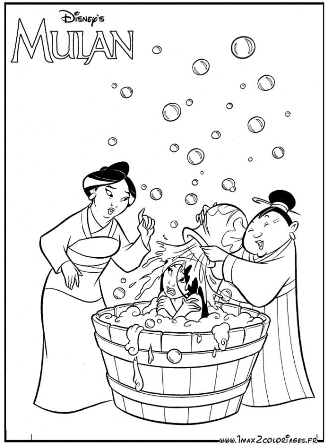 Coloriage et dessins gratuits Mulan se Baigne à imprimer