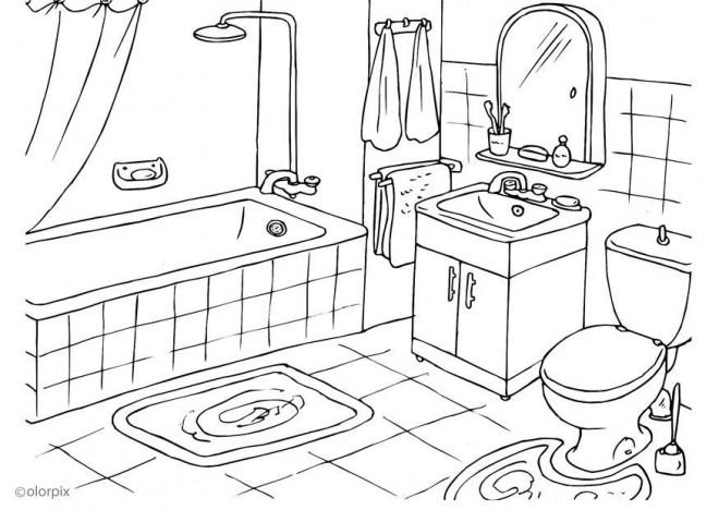Coloriage et dessins gratuits Salle de Bain à colorier à imprimer