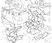Coloriage Salle de Bain dessin animé