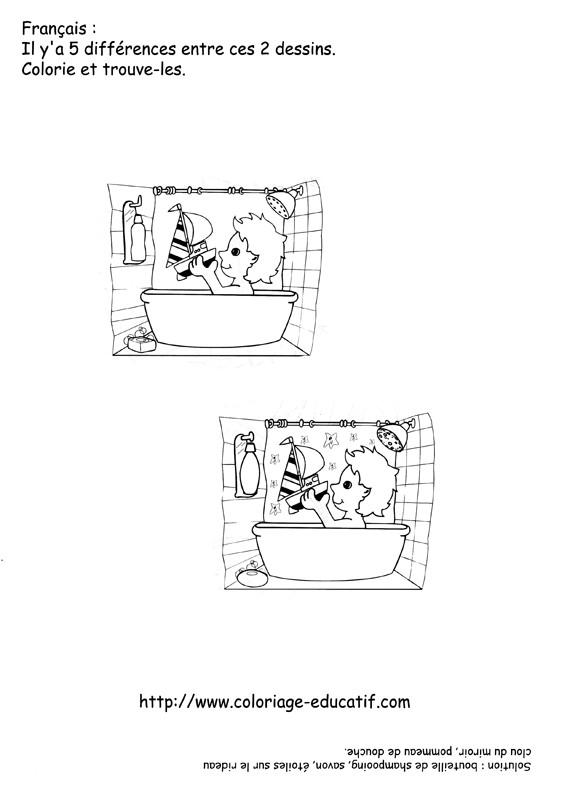 Coloriage et dessins gratuits Salle de Bain et Activités à imprimer