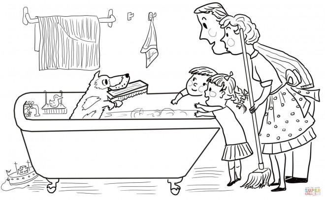 Coloriage et dessins gratuits Salle de Bain et Le Chien Humoristique à imprimer