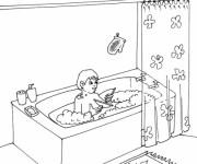 Coloriage et dessins gratuit Salle de Bain pour enfant à imprimer