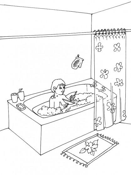 Coloriage et dessins gratuits Salle de Bain pour enfant à imprimer