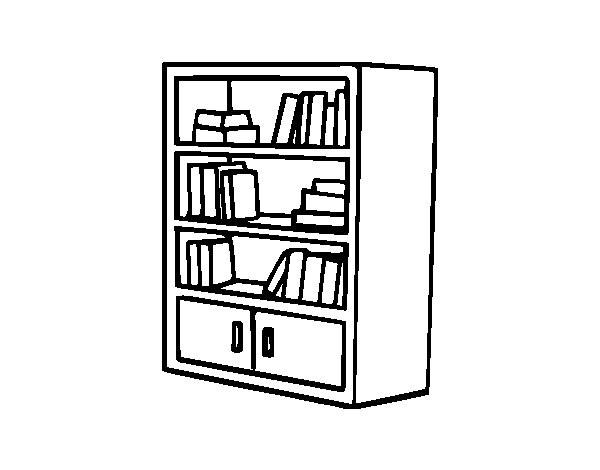 Desenho De Biblioteca Para Colorir: Coloriage Armoire à Livre Dessin Gratuit à Imprimer