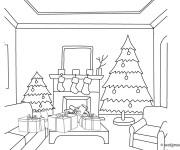 Coloriage Décoration du Salon au Noel