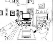 Coloriage Femme lit un Livre au Salon