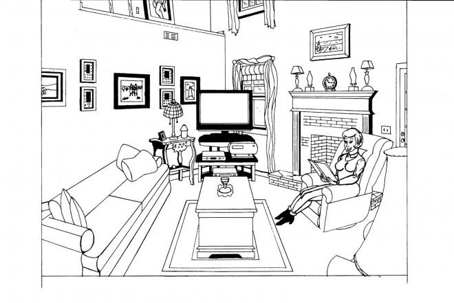 Coloriage et dessins gratuits Femme lit un Livre au Salon à imprimer