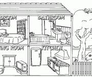 Coloriage et dessins gratuit Intérieur maison à imprimer