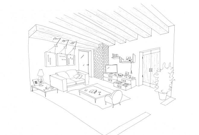 Coloriage et dessins gratuits Intérieur Maison à télécharger à imprimer