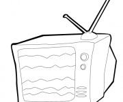 Coloriage La Télé au Salon