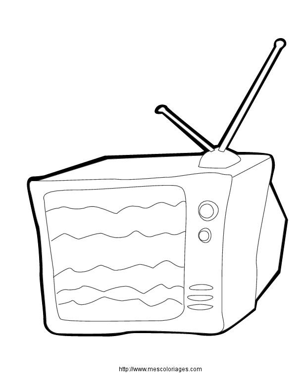 Coloriage et dessins gratuits La Télé au Salon à imprimer
