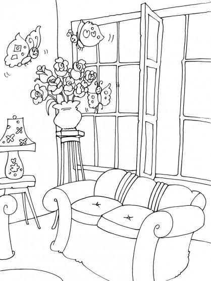Coloriage et dessins gratuits Les Papillons entrent par la Fenêtres du Salon à imprimer