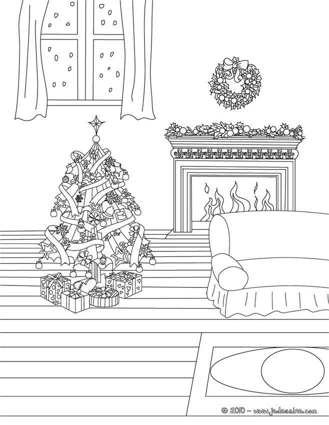Coloriage et dessins gratuits Salon en Noel à imprimer
