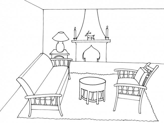 Coloriage et dessins gratuits Salon facile à imprimer