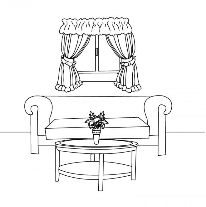 Coloriage et dessins gratuits Salon Intérieur Maison à imprimer