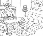 Coloriage et dessins gratuit Salon meublé à imprimer