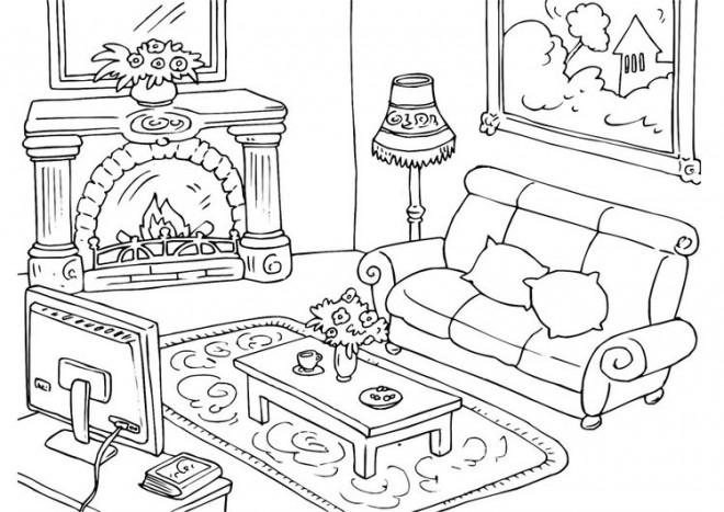 Coloriage et dessins gratuits Salon meublé à imprimer