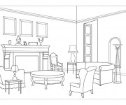 Coloriage Salon moderne