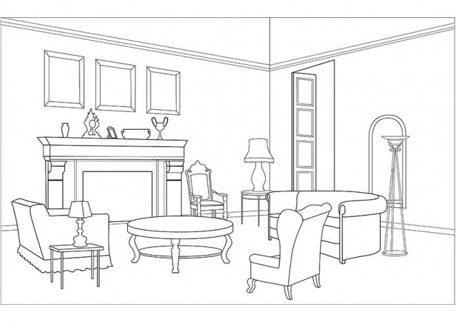 Coloriage salon moderne dessin gratuit imprimer - Saloon dessin ...