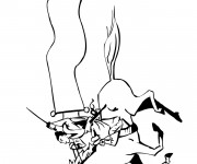 Coloriage Guerrier Samourai sur cheval