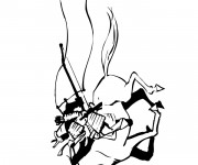 Coloriage Samourai 10