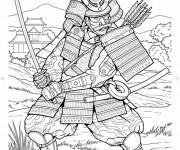 Coloriage Samourai en armure