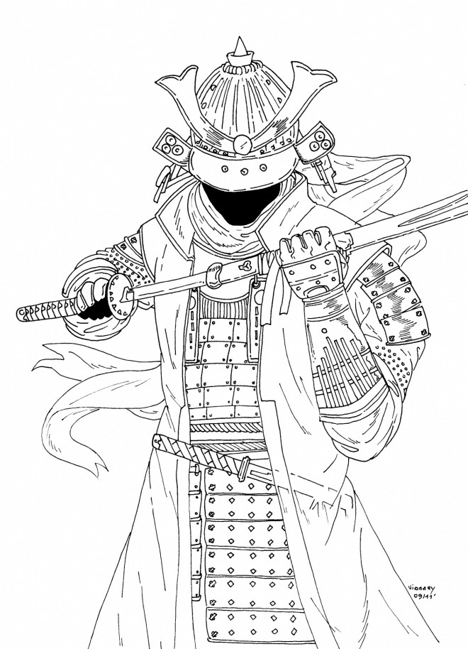 Coloriage et dessins gratuits Samourai en couleur à imprimer