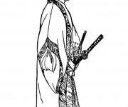 Coloriage et dessins gratuit Samourai en Hakama à imprimer