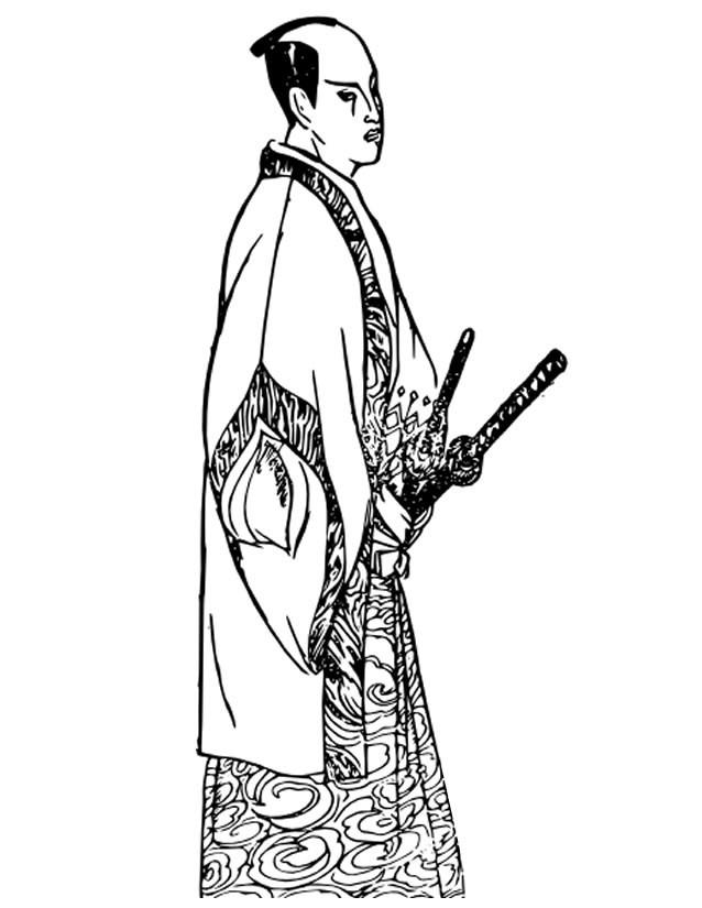 Coloriage et dessins gratuits Samourai en Hakama à imprimer