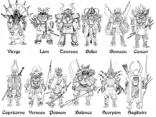 Coloriage et dessins gratuits Samourai et Horoscope à imprimer