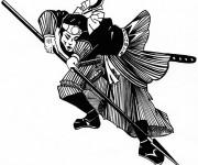 Coloriage Samourai et son arme