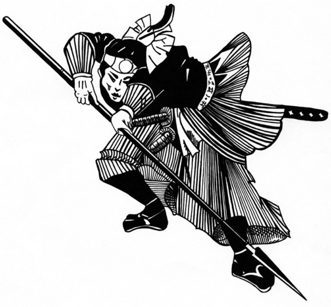 Coloriage et dessins gratuits Samourai et son arme à imprimer