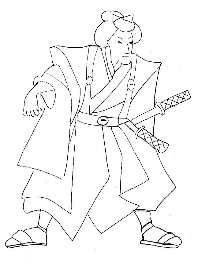 Coloriage et dessins gratuits Samourai Japonais à imprimer
