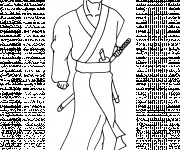 Coloriage Samourai Kimono