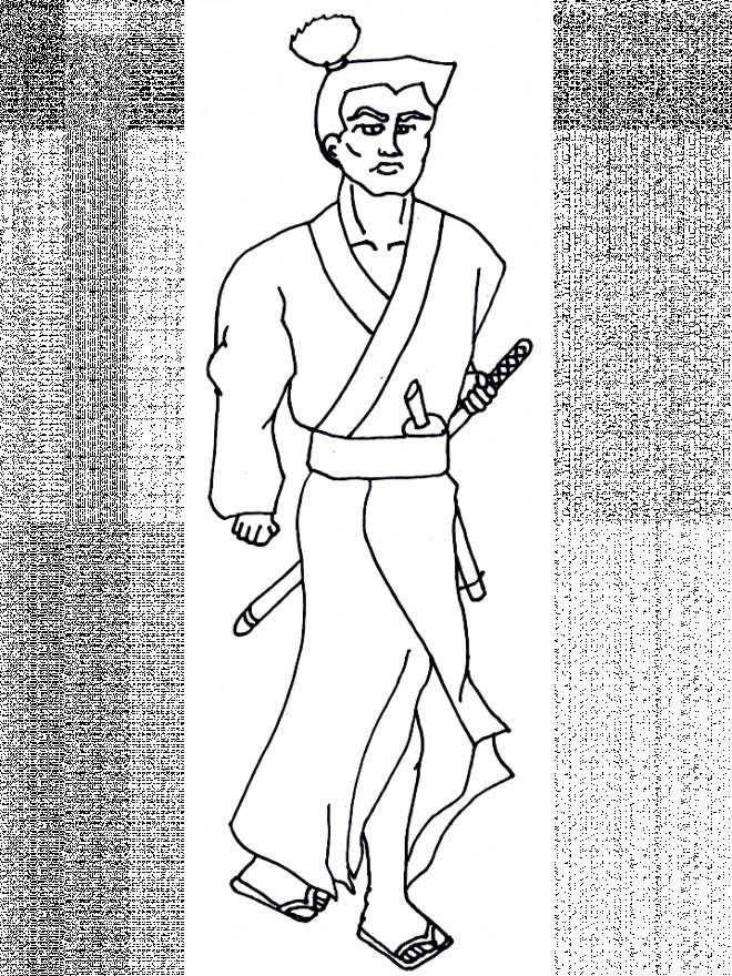 Coloriage et dessins gratuits Samourai Kimono à imprimer