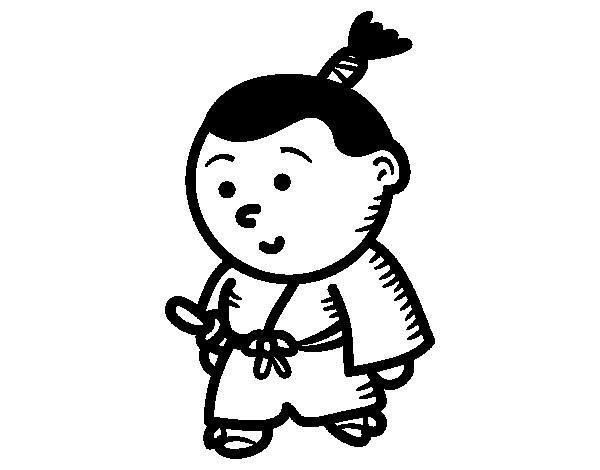 Coloriage et dessins gratuits Samourai Miniature à imprimer