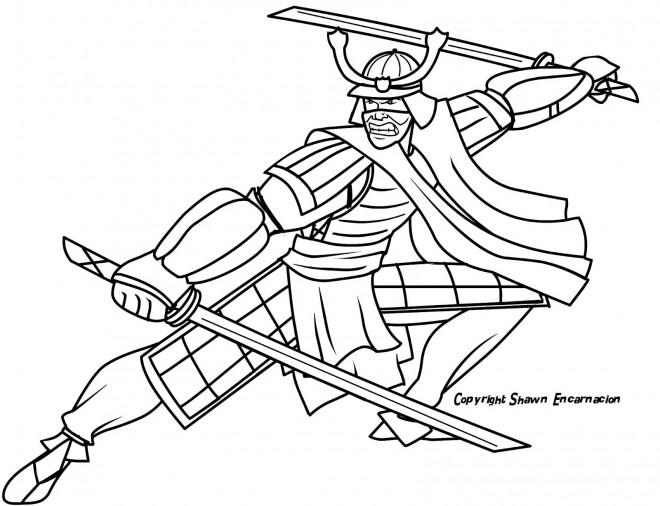 Coloriage et dessins gratuits Samourai pour adulte à imprimer