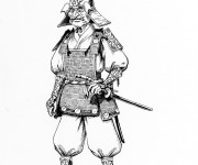Coloriage Samourai réaliste